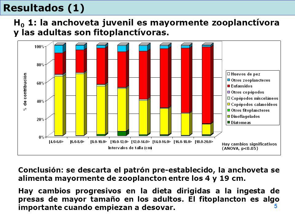H 0 1: la anchoveta juvenil es mayormente zooplanctívora y las adultas son fitoplanctívoras. Resultados (1) Conclusión: se descarta el patrón pre-esta