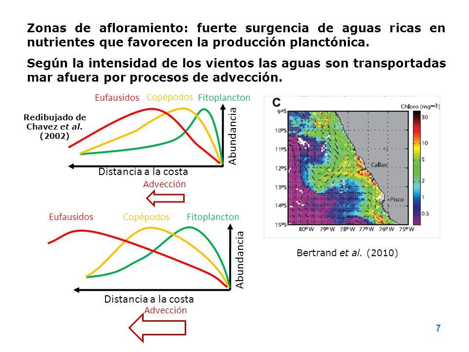 Bertrand et al. (2010) Zonas de afloramiento: fuerte surgencia de aguas ricas en nutrientes que favorecen la producción planctónica. Según la intensid