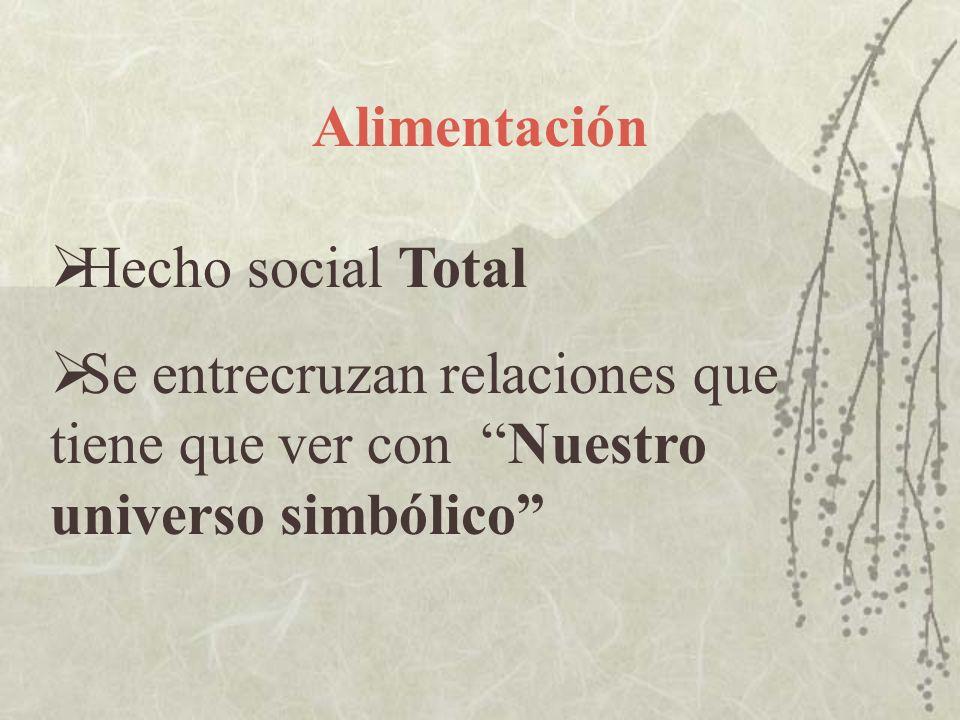 Alimentación Hecho social Total Se entrecruzan relaciones que tiene que ver con Nuestro universo simbólico