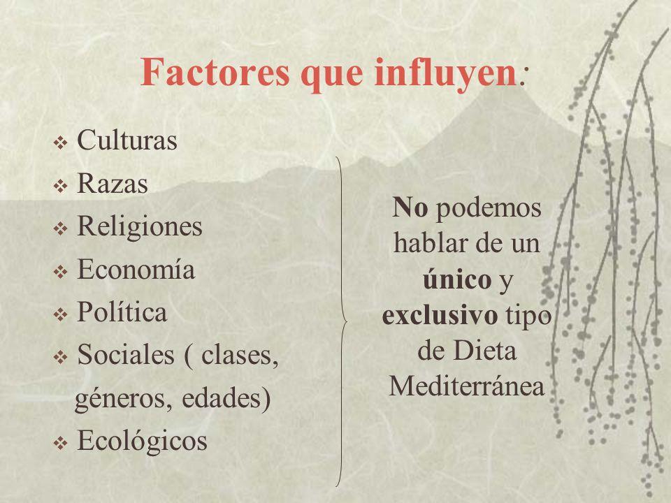 Factores que influyen: Culturas Razas Religiones Economía Política Sociales ( clases, géneros, edades) Ecológicos No podemos hablar de un único y excl