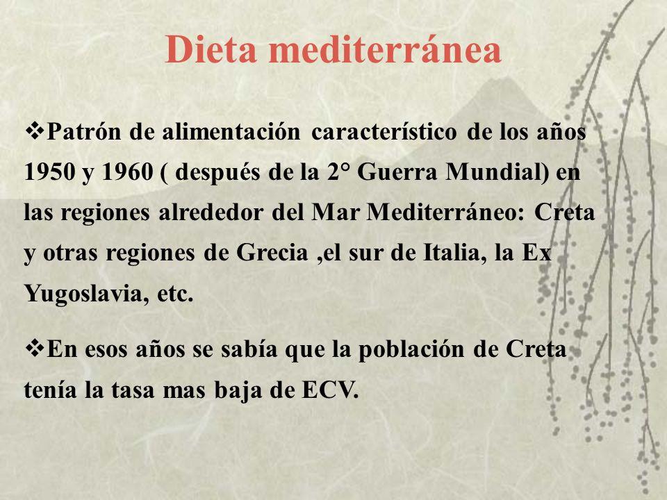 Dieta mediterránea Patrón de alimentación característico de los años 1950 y 1960 ( después de la 2° Guerra Mundial) en las regiones alrededor del Mar