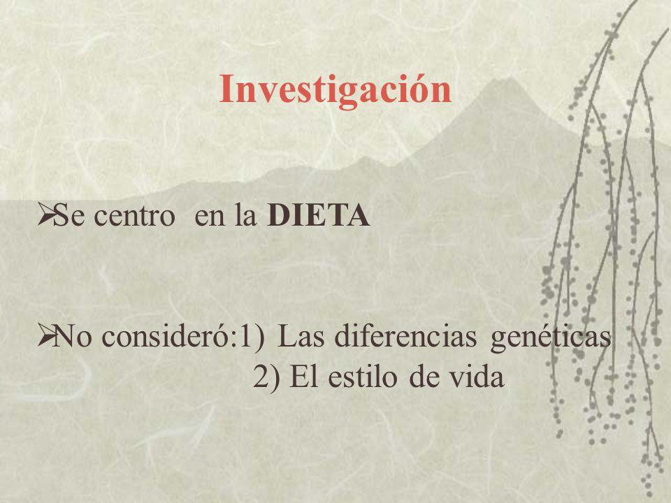 Investigación Se centro en la DIETA No consideró:1) Las diferencias genéticas 2) El estilo de vida