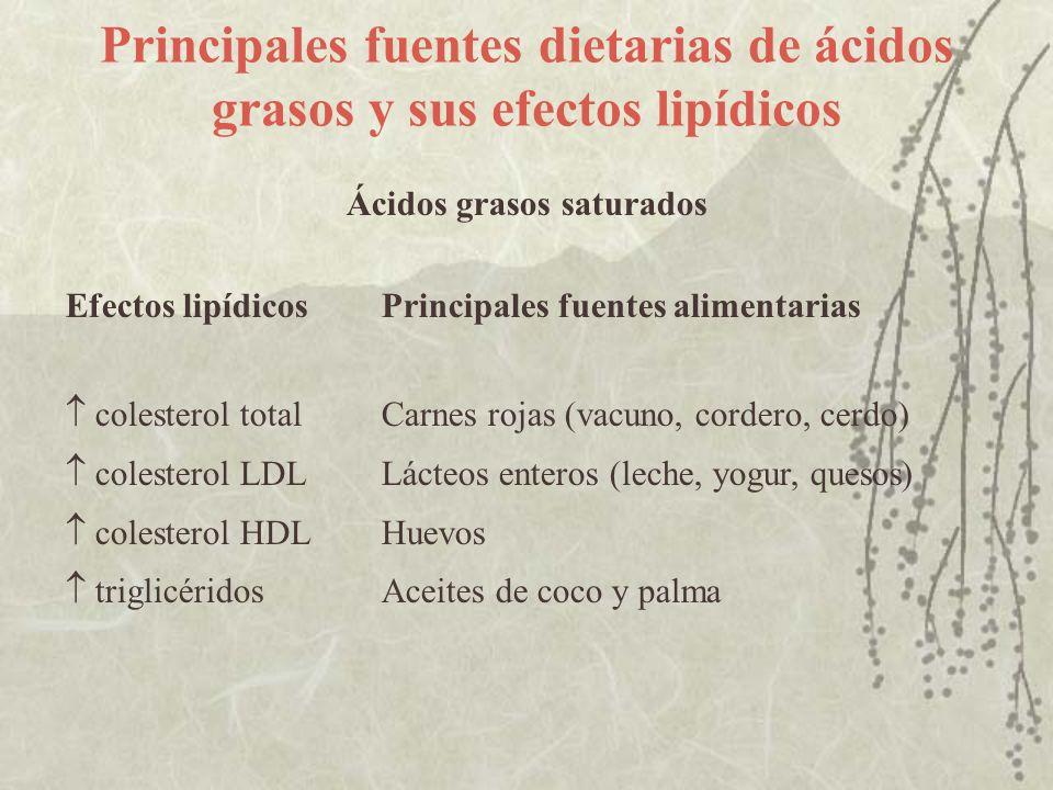 Principales fuentes dietarias de ácidos grasos y sus efectos lipídicos Ácidos grasos saturados Efectos lipídicosPrincipales fuentes alimentarias coles