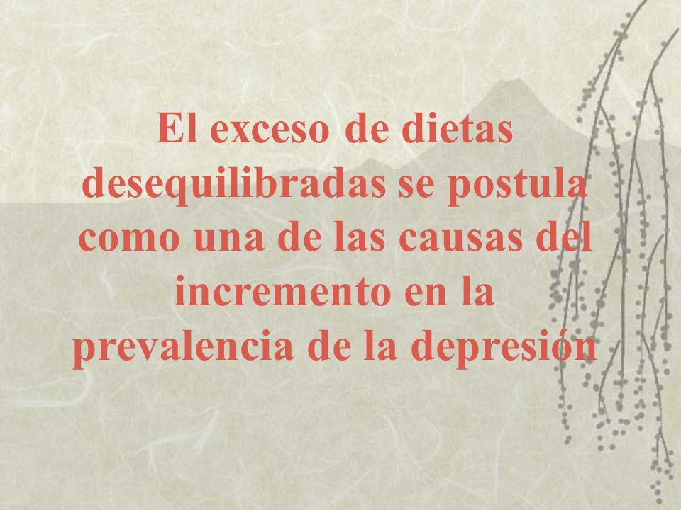 El exceso de dietas desequilibradas se postula como una de las causas del incremento en la prevalencia de la depresión