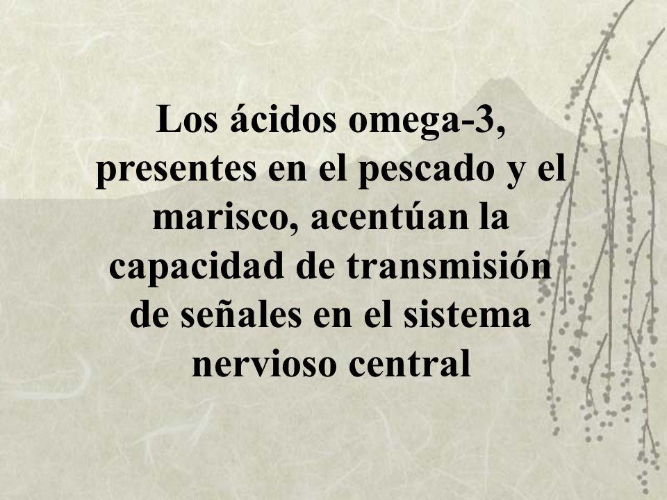 Los ácidos omega-3, presentes en el pescado y el marisco, acentúan la capacidad de transmisión de señales en el sistema nervioso central