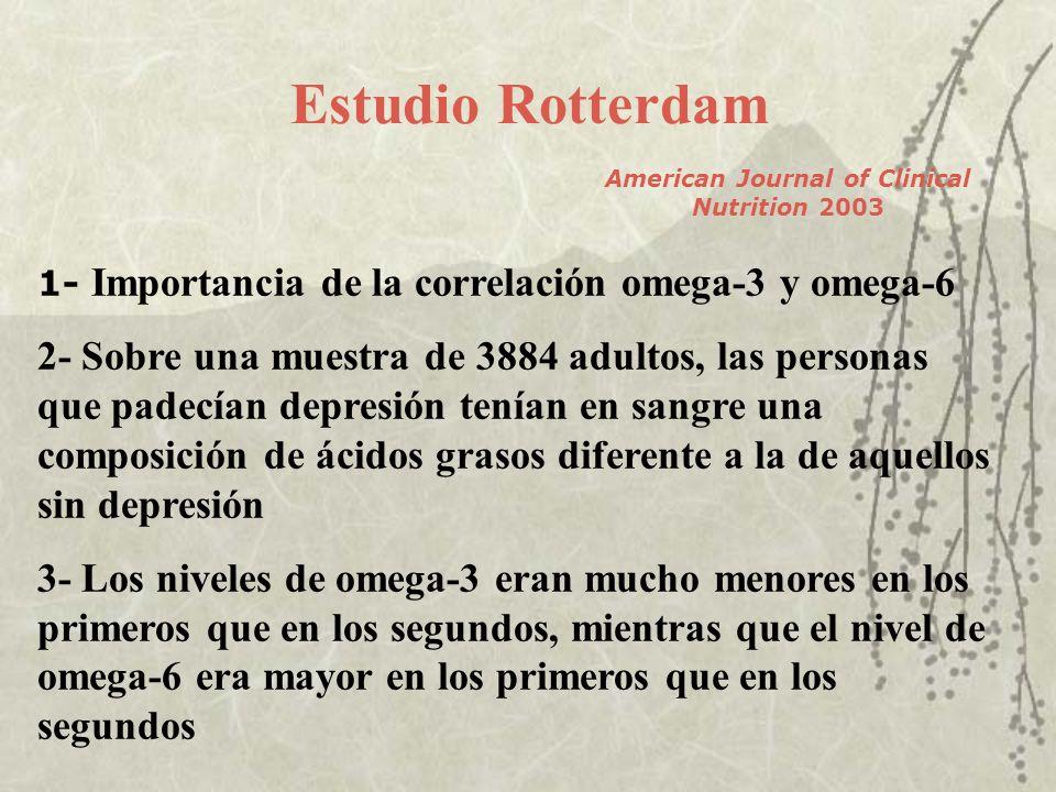 Estudio Rotterdam American Journal of Clinical Nutrition 2003 1- Importancia de la correlación omega-3 y omega-6 2- Sobre una muestra de 3884 adultos,