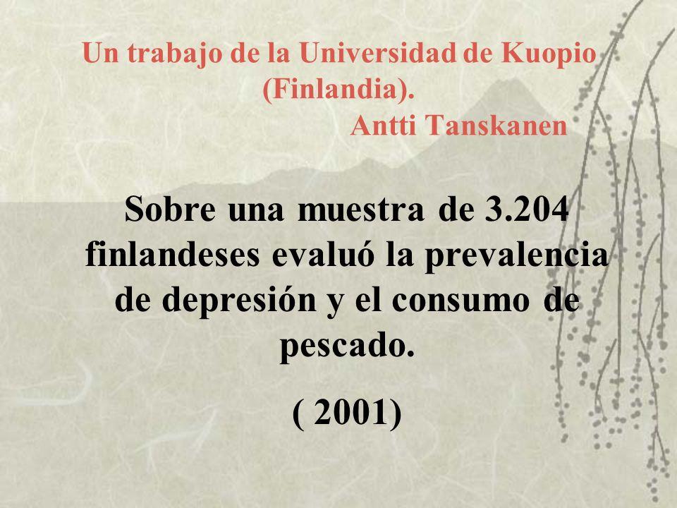 Un trabajo de la Universidad de Kuopio (Finlandia). Antti Tanskanen Sobre una muestra de 3.204 finlandeses evaluó la prevalencia de depresión y el con