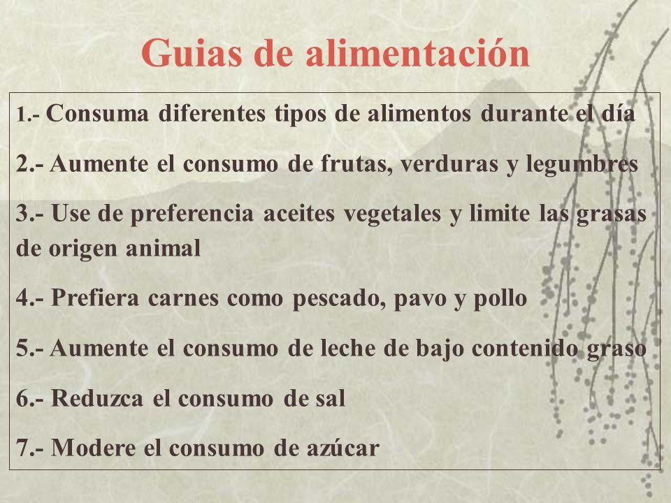 Guias de alimentación 1.- Consuma diferentes tipos de alimentos durante el día 2.- Aumente el consumo de frutas, verduras y legumbres 3.- Use de prefe
