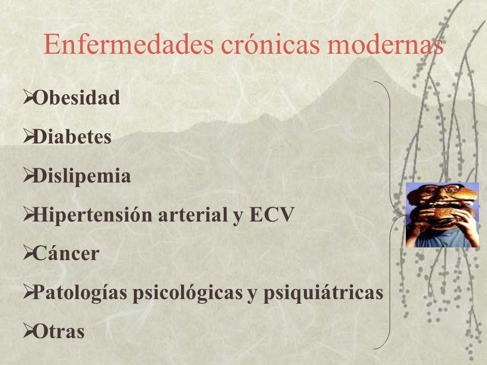 Enfermedades crónicas modernas Obesidad Diabetes Dislipemia Hipertensión arterial y ECV Cáncer Patologías psicológicas y psiquiátricas Otras