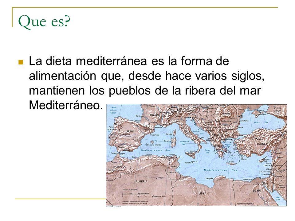 La dieta mediterránea no puede ser única ya que son varios los países que la disfrutan, y por tanto cada uno de ellos aporta sus peculiaridades; pero sí hay una serie de características que son comunes a todas ellas: