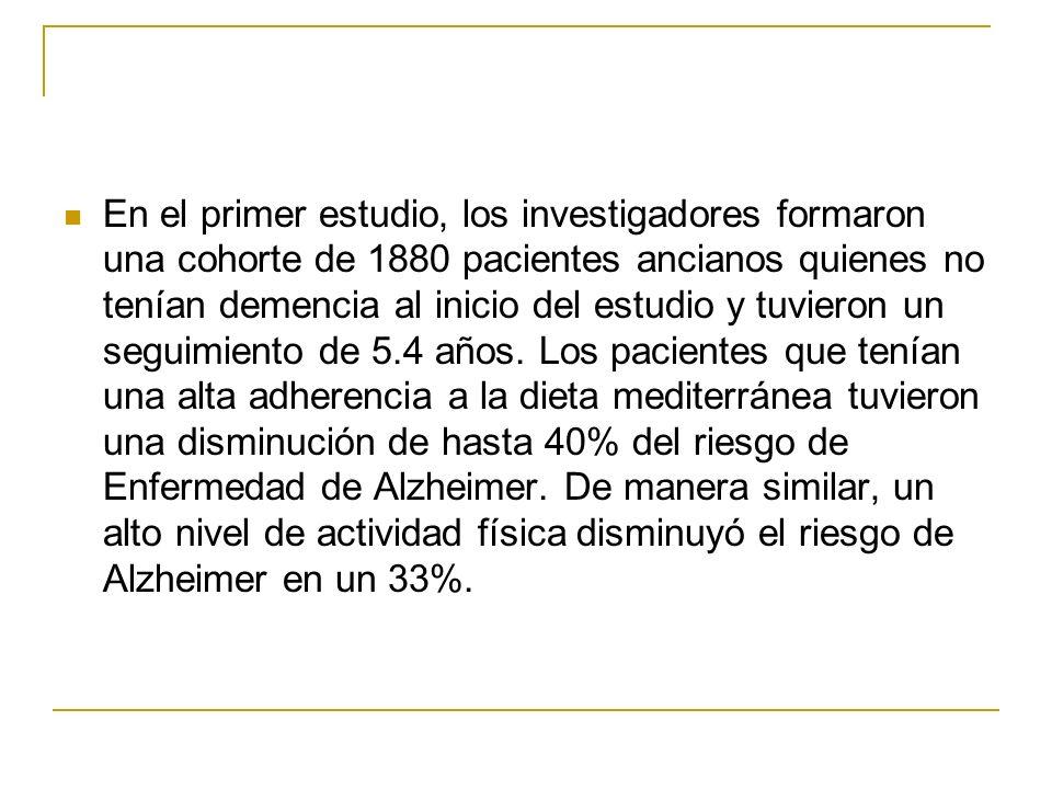 En el primer estudio, los investigadores formaron una cohorte de 1880 pacientes ancianos quienes no tenían demencia al inicio del estudio y tuvieron un seguimiento de 5.4 años.
