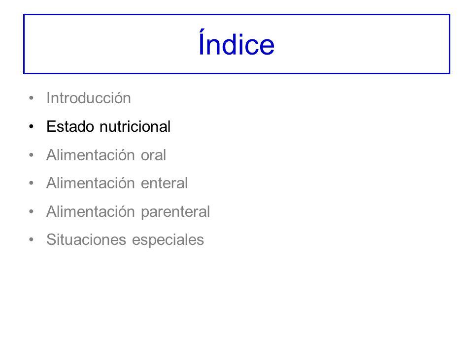 Índice Introducción Estado nutricional Alimentación oral Alimentación enteral Alimentación parenteral Situaciones especiales