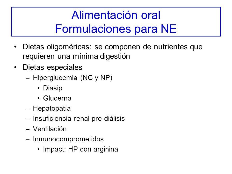 Alimentación oral Formulaciones para NE Dietas oligoméricas: se componen de nutrientes que requieren una mínima digestión Dietas especiales –Hiperglucemia (NC y NP) Diasip Glucerna –Hepatopatía –Insuficiencia renal pre-diálisis –Ventilación –Inmunocomprometidos Impact: HP con arginina