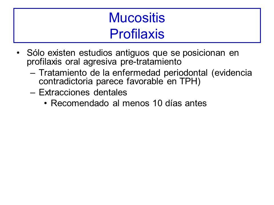 Mucositis Profilaxis Sólo existen estudios antiguos que se posicionan en profilaxis oral agresiva pre-tratamiento –Tratamiento de la enfermedad periodontal (evidencia contradictoria parece favorable en TPH) –Extracciones dentales Recomendado al menos 10 días antes