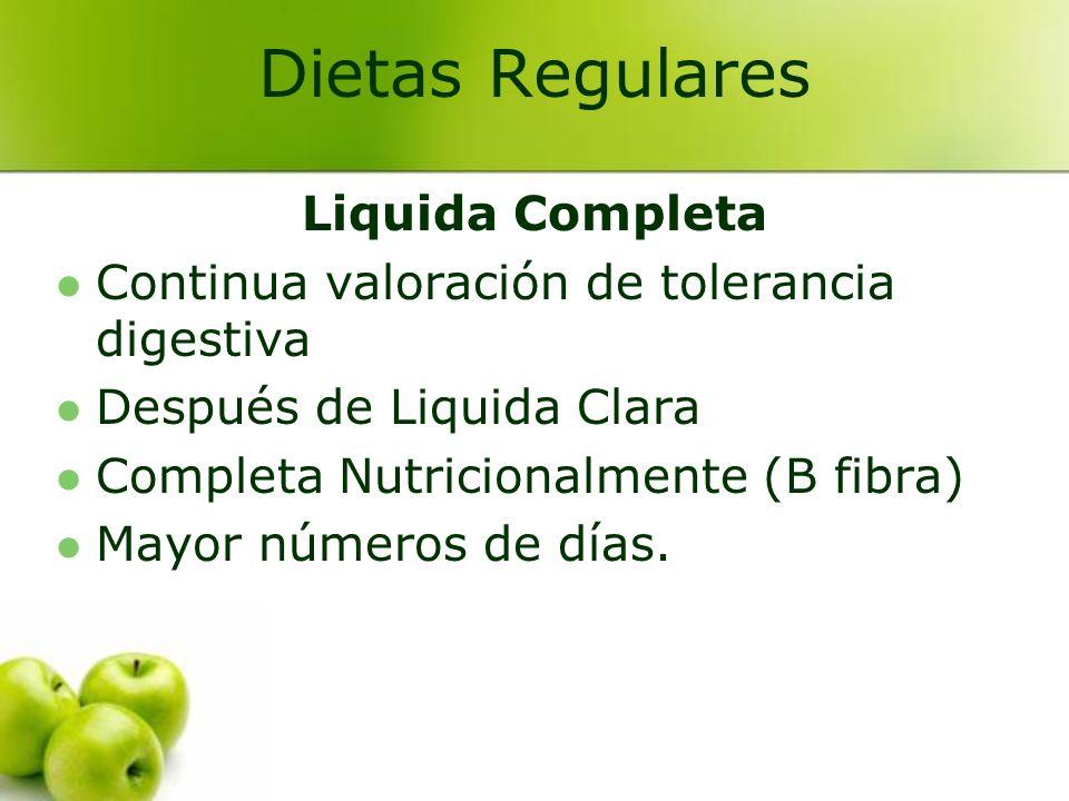 Liquida Completa Continua valoración de tolerancia digestiva Después de Liquida Clara Completa Nutricionalmente (B fibra) Mayor números de días. Dieta