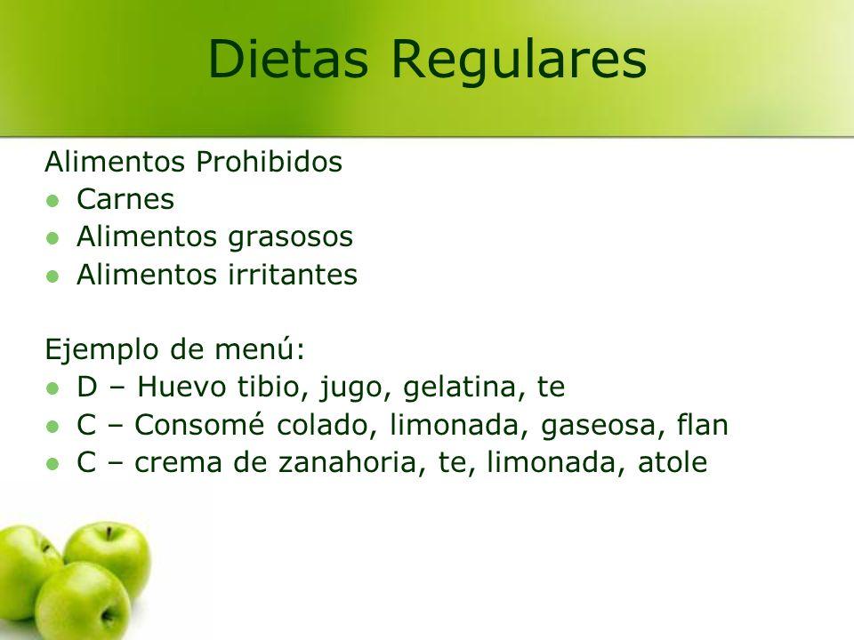 Alimentos Prohibidos Carnes Alimentos grasosos Alimentos irritantes Ejemplo de menú: D – Huevo tibio, jugo, gelatina, te C – Consomé colado, limonada,