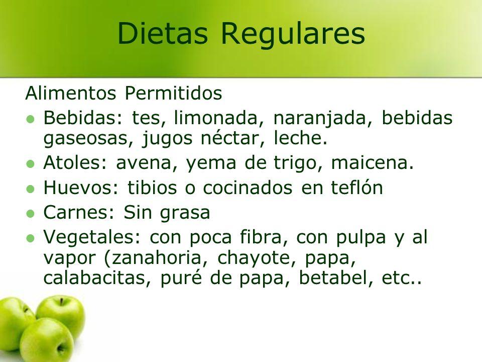 Alimentos Permitidos Bebidas: tes, limonada, naranjada, bebidas gaseosas, jugos néctar, leche. Atoles: avena, yema de trigo, maicena. Huevos: tibios o