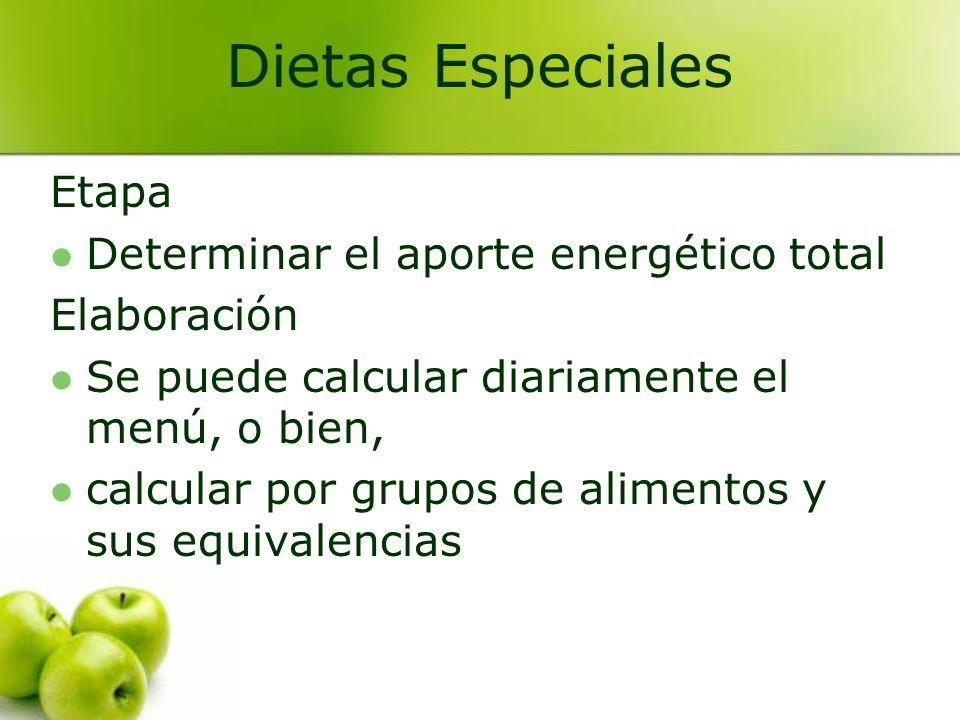 Etapa Determinar el aporte energético total Elaboración Se puede calcular diariamente el menú, o bien, calcular por grupos de alimentos y sus equivale