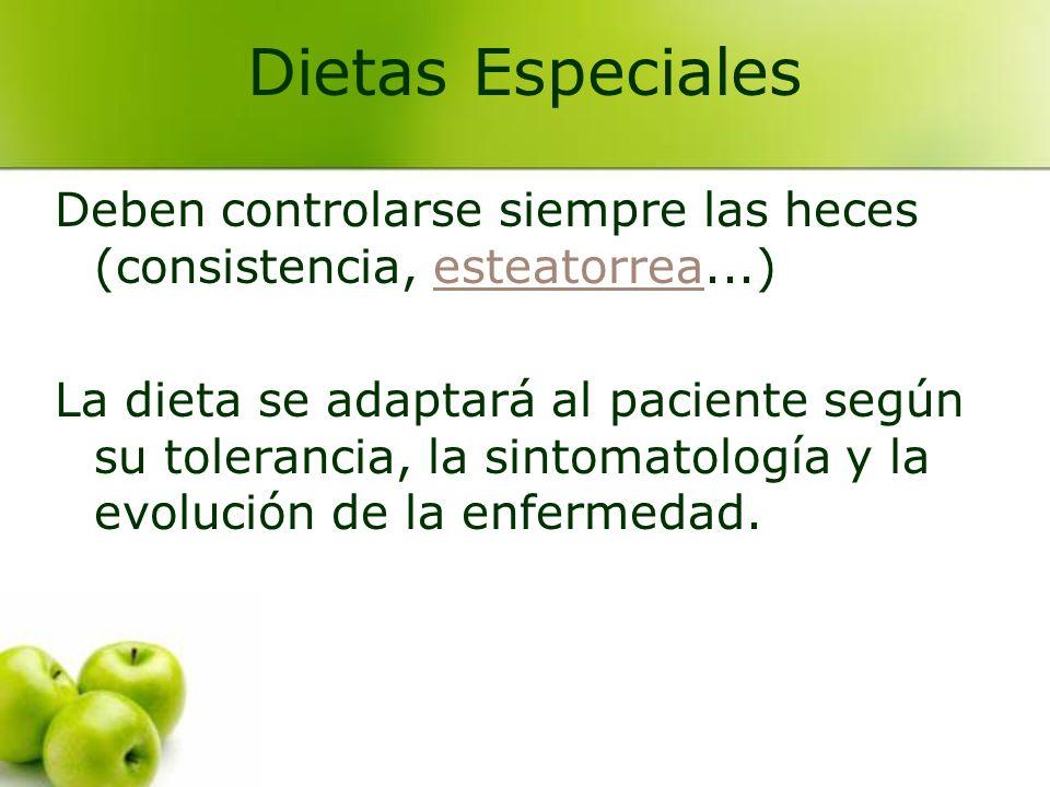 Deben controlarse siempre las heces (consistencia, esteatorrea...)esteatorrea La dieta se adaptará al paciente según su tolerancia, la sintomatología