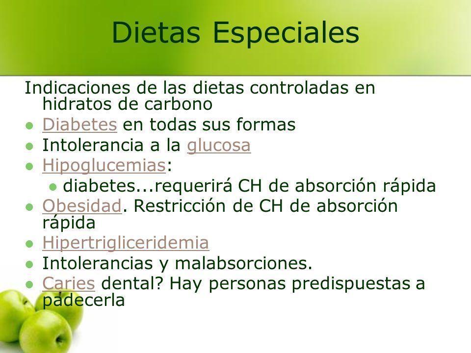 Indicaciones de las dietas controladas en hidratos de carbono Diabetes en todas sus formas Diabetes Intolerancia a la glucosaglucosa Hipoglucemias: Hi