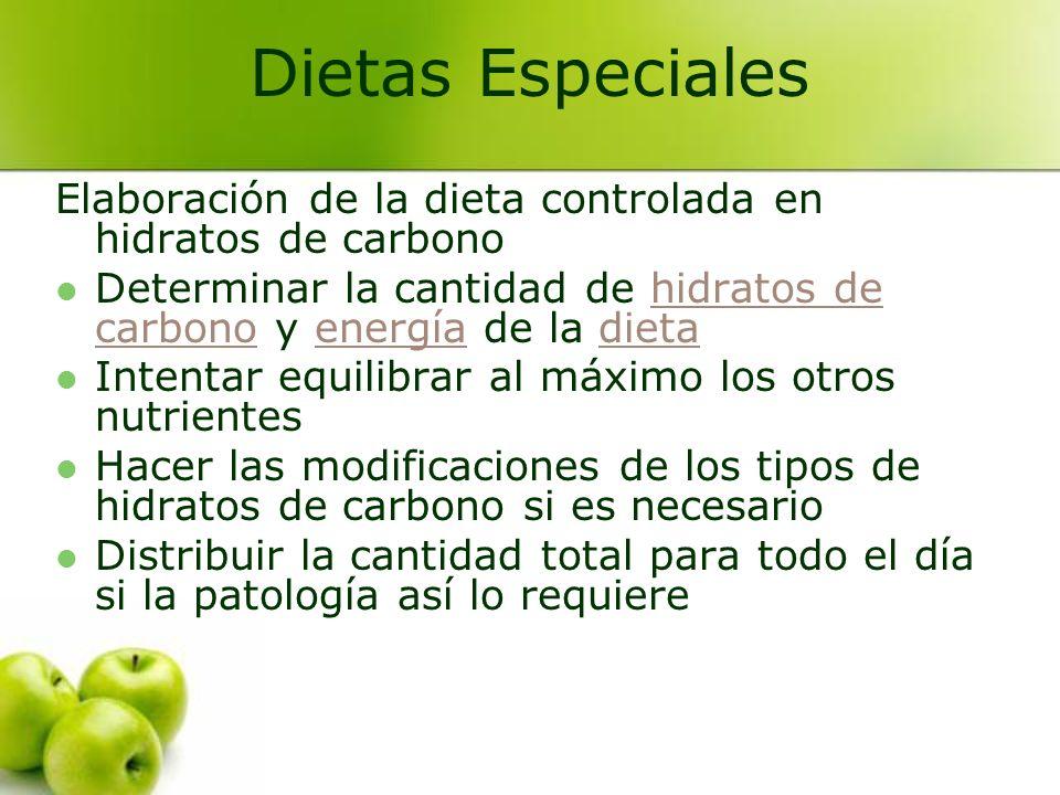Elaboración de la dieta controlada en hidratos de carbono Determinar la cantidad de hidratos de carbono y energía de la dietahidratos de carbonoenergí