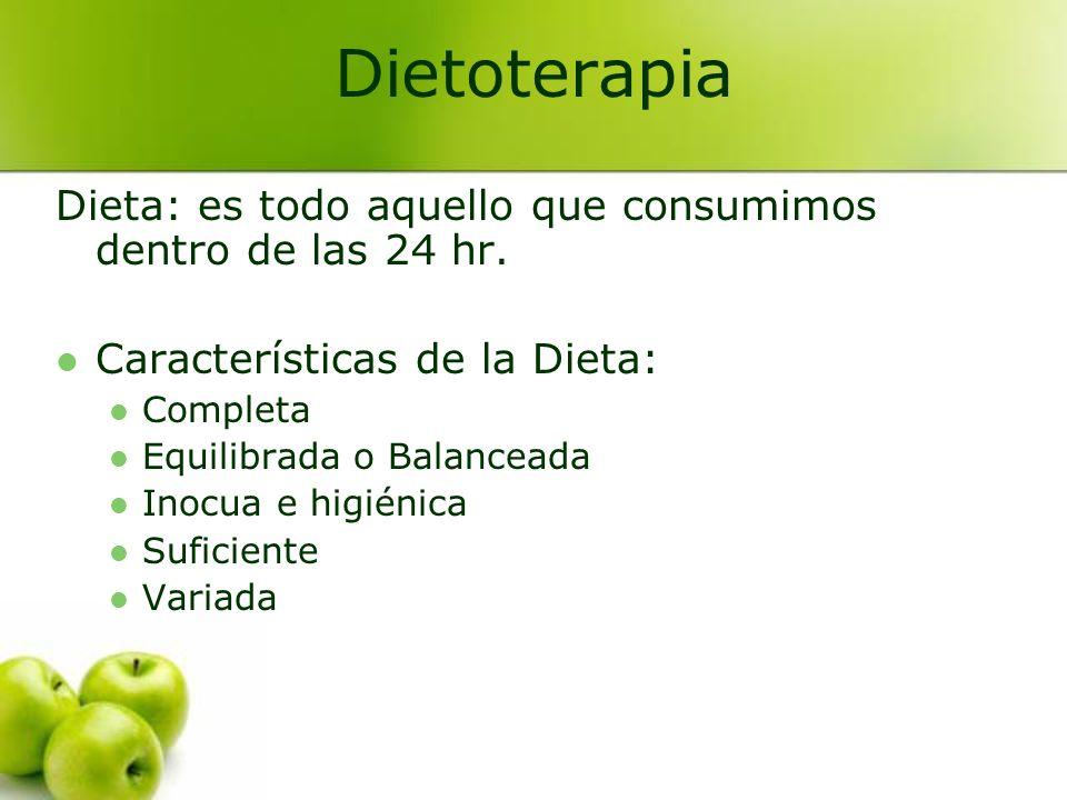 Dieta: es todo aquello que consumimos dentro de las 24 hr. Características de la Dieta: Completa Equilibrada o Balanceada Inocua e higiénica Suficient