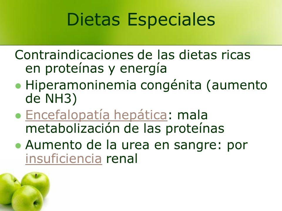 Contraindicaciones de las dietas ricas en proteínas y energía Hiperamoninemia congénita (aumento de NH3) Encefalopatía hepática: mala metabolización d