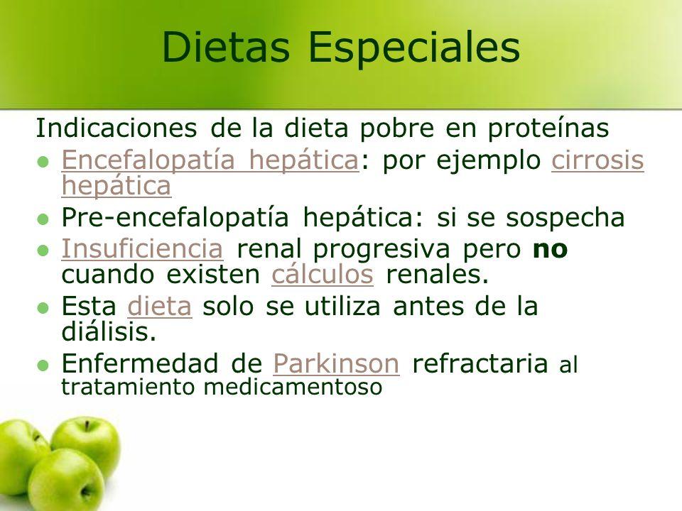 Indicaciones de la dieta pobre en proteínas Encefalopatía hepática: por ejemplo cirrosis hepática Encefalopatía hepáticacirrosis hepática Pre-encefalo