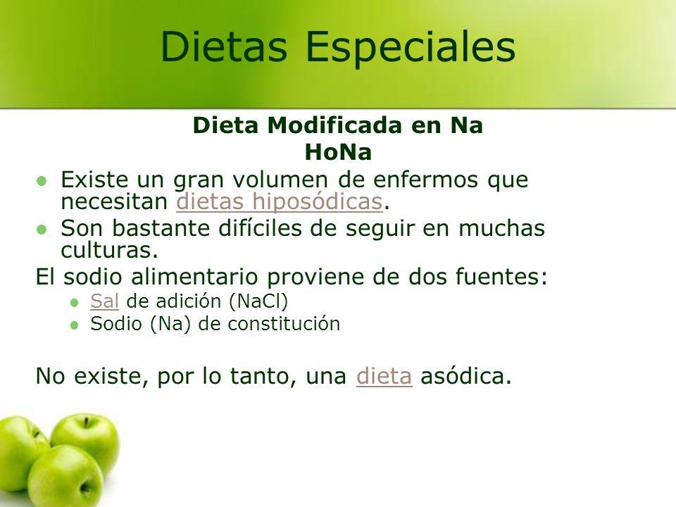 Dieta Modificada en Na HoNa Existe un gran volumen de enfermos que necesitan dietas hiposódicas.dietas hiposódicas Son bastante difíciles de seguir en