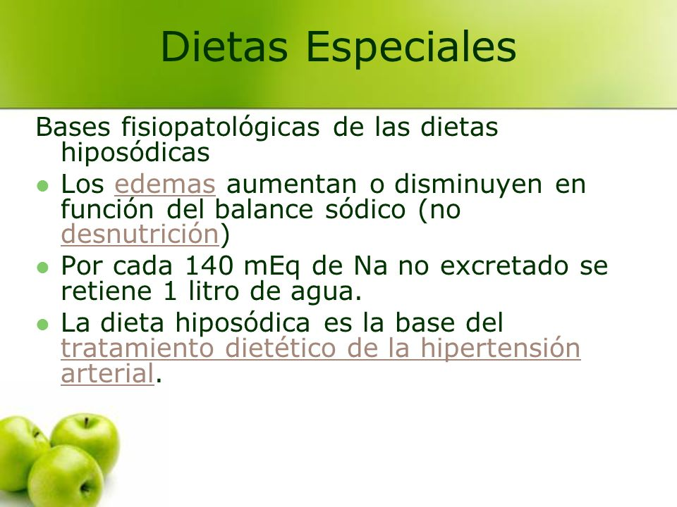 Bases fisiopatológicas de las dietas hiposódicas Los edemas aumentan o disminuyen en función del balance sódico (no desnutrición)edemas desnutrición P