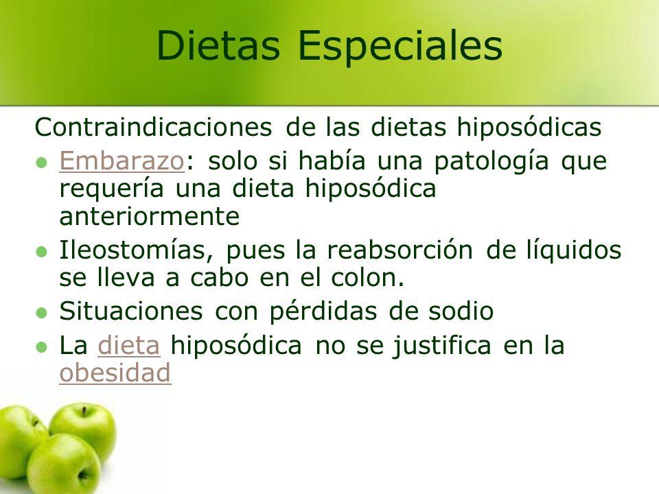Contraindicaciones de las dietas hiposódicas Embarazo: solo si había una patología que requería una dieta hiposódica anteriormente Embarazo Ileostomía