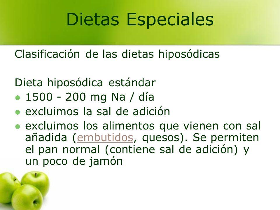 Clasificación de las dietas hiposódicas Dieta hiposódica estándar 1500 - 200 mg Na / día excluimos la sal de adición excluimos los alimentos que viene