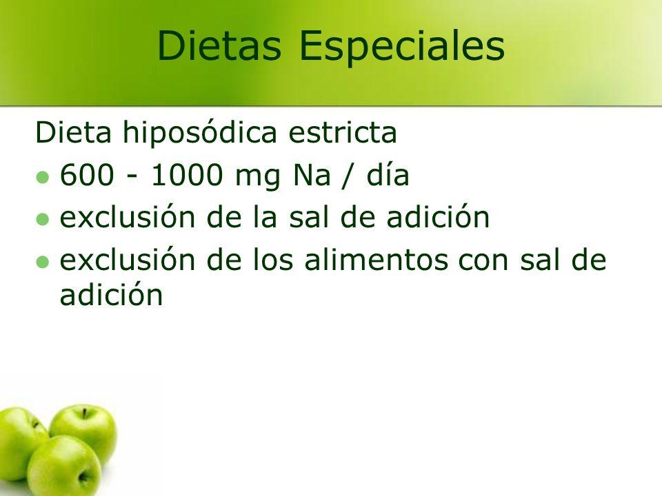 Dieta hiposódica severa 200 - 400 mg Na / día no se utiliza habitualmente utilizada solamente cuando el grado de restricción es muy alto.