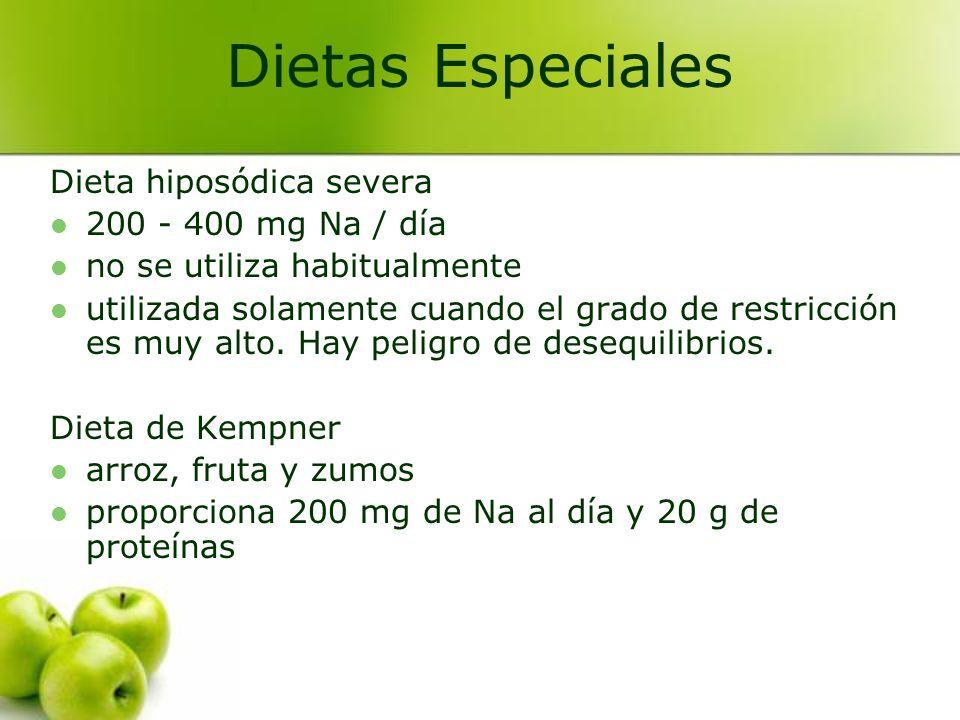 Recomendaciones generales en las dietas hiposódicas Buena presentación: colores, texturas...