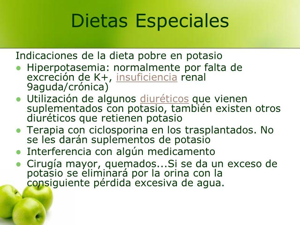 Indicaciones de la dieta pobre en potasio Hiperpotasemia: normalmente por falta de excreción de K+, insuficiencia renal 9aguda/crónica)insuficiencia U