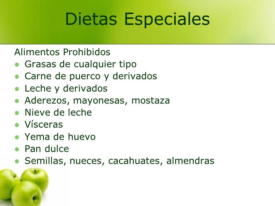 Alimentos Prohibidos Grasas de cualquier tipo Carne de puerco y derivados Leche y derivados Aderezos, mayonesas, mostaza Nieve de leche Vísceras Yema
