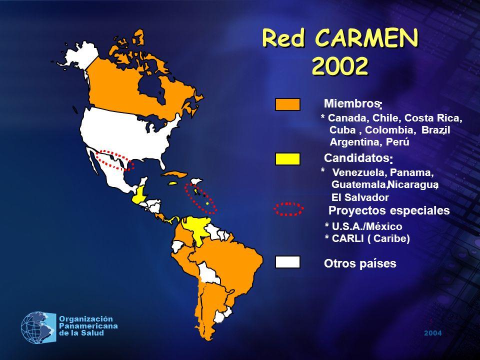 2004 Organización Panamericana de la Salud.. 5 Miembros : Candidatos : Otros países Proyectos especiales * U.S.A./México * CARLI (Caribe) * Canada, Ch