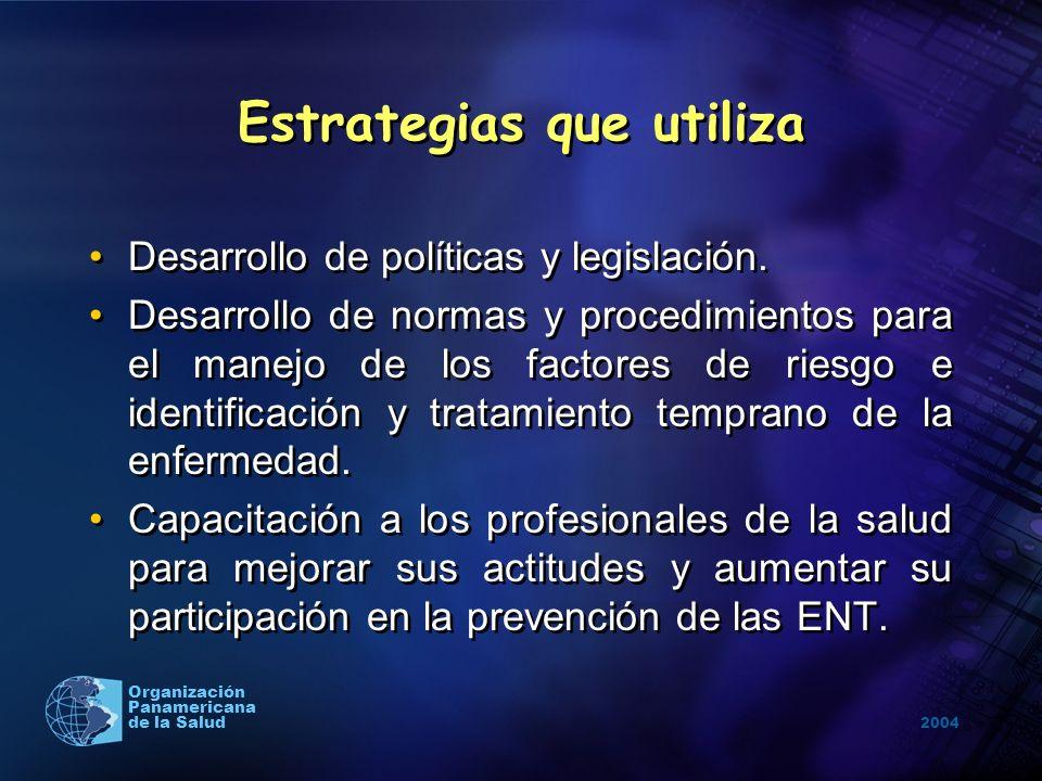 2004 Organización Panamericana de la Salud Estrategias que utiliza Desarrollo de políticas y legislación. Desarrollo de normas y procedimientos para e