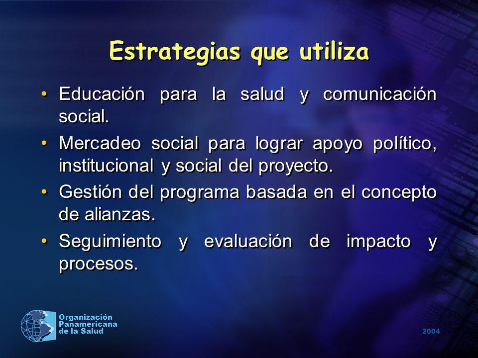 2004 Organización Panamericana de la Salud Estrategias que utiliza Educación para la salud y comunicación social. Mercadeo social para lograr apoyo po