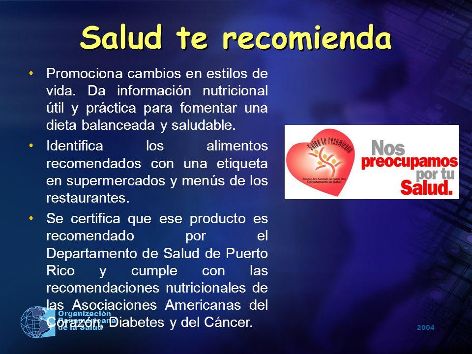 2004 Organización Panamericana de la Salud Salud te recomienda Promociona cambios en estilos de vida. Da información nutricional útil y práctica para
