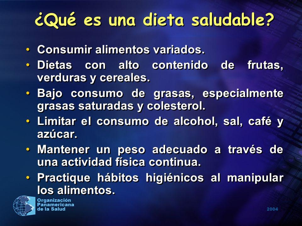 2004 Organización Panamericana de la Salud ¿Qué es una dieta saludable? Consumir alimentos variados. Dietas con alto contenido de frutas, verduras y c