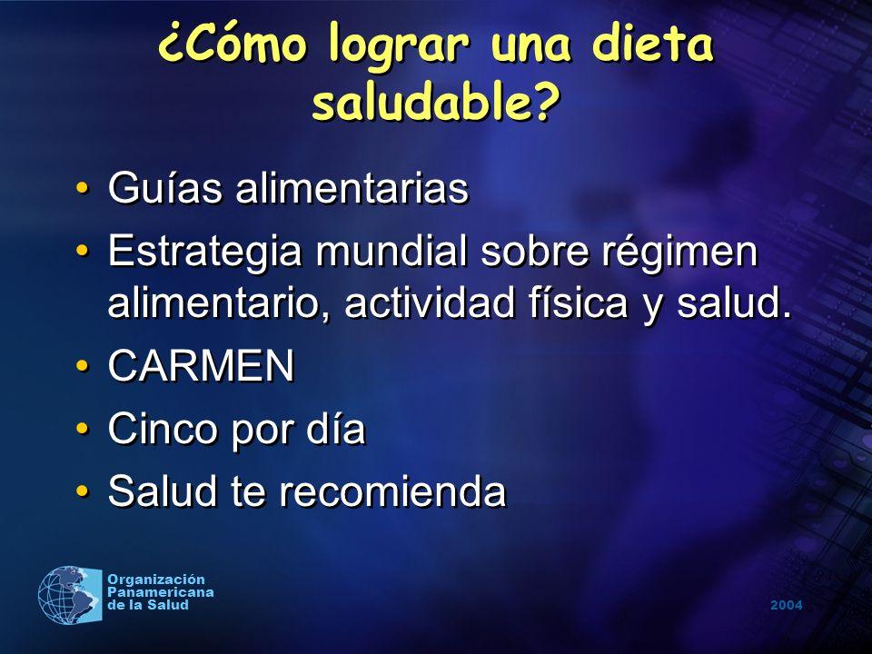 2004 Organización Panamericana de la Salud ¿Cómo lograr una dieta saludable? Guías alimentarias Estrategia mundial sobre régimen alimentario, activida