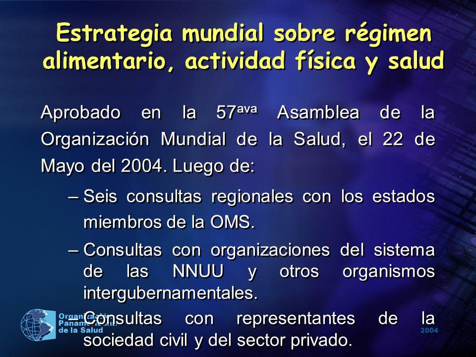 2004 Organización Panamericana de la Salud Contiene recomendaciones para los estados miembros, la OMS, los socios internacionales, las ONGs y el sector privado para lograr la modificación de los hábitos de alimentación y actividad física de la población.