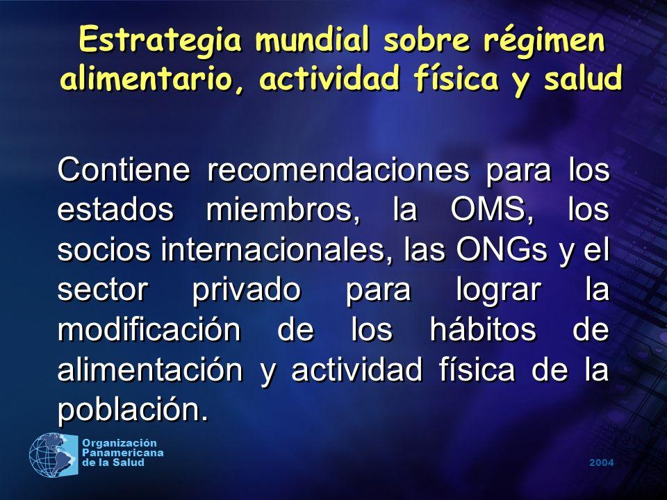 2004 Organización Panamericana de la Salud Objetivos de la estrategia Reducir los factores de riesgo de las ENT asociados a la dieta inadecuada y la inactividad física mediante la promoción de la salud y prevención de la morbilidad.