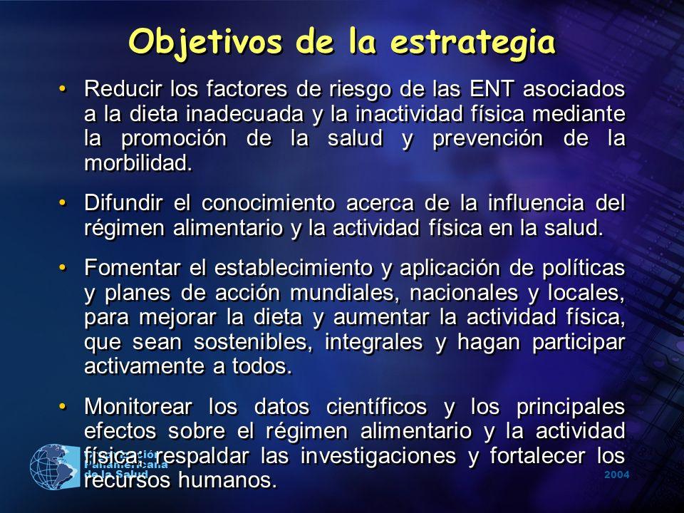 2004 Organización Panamericana de la Salud Objetivos de la estrategia Reducir los factores de riesgo de las ENT asociados a la dieta inadecuada y la i