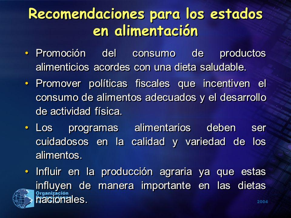 2004 Organización Panamericana de la Salud Promoción del consumo de productos alimenticios acordes con una dieta saludable. Promover políticas fiscale