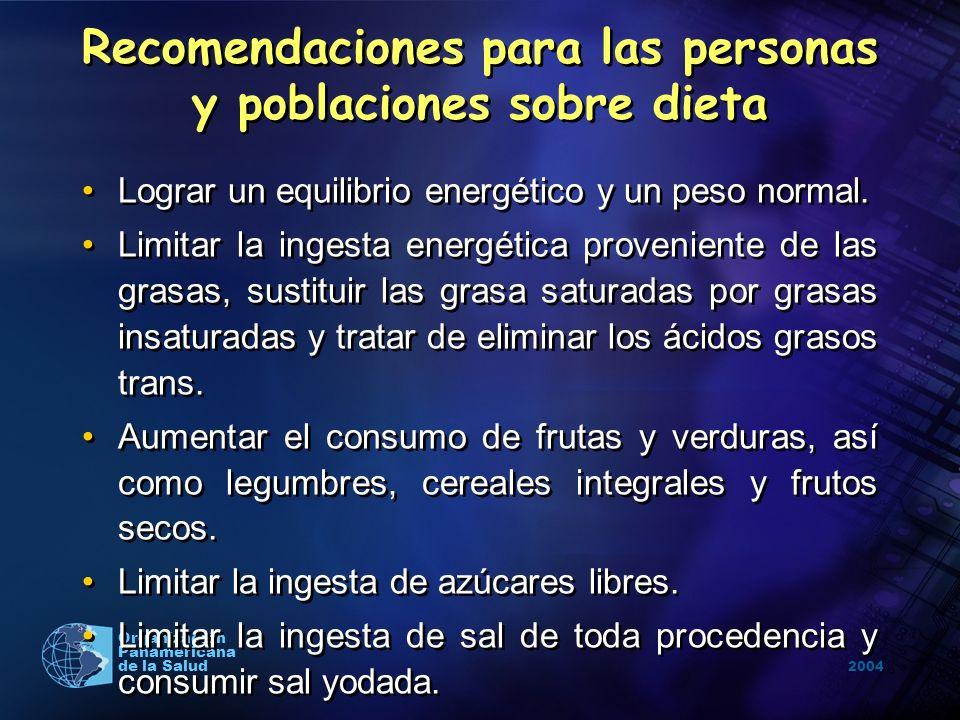 2004 Organización Panamericana de la Salud Recomendaciones para las personas y poblaciones sobre dieta Lograr un equilibrio energético y un peso norma