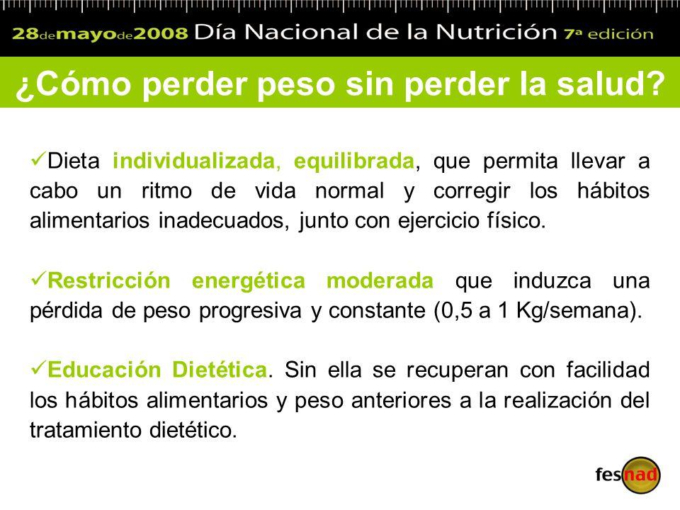 Dieta individualizada, equilibrada, que permita llevar a cabo un ritmo de vida normal y corregir los hábitos alimentarios inadecuados, junto con ejerc