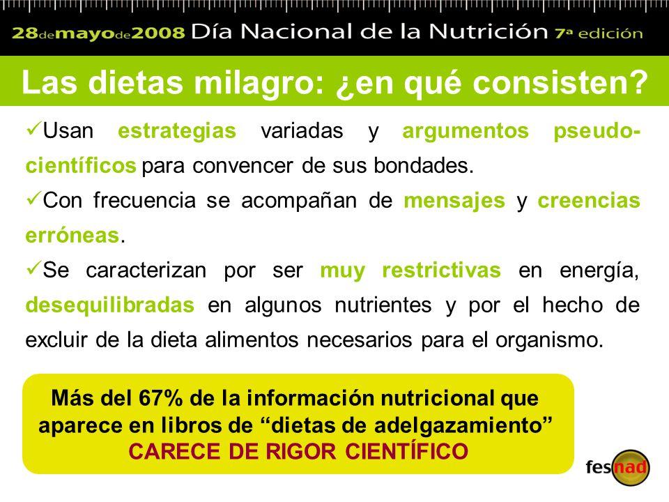 Clasificación de las dietas milagro Dietas de muy bajo o bajo valor calórico e hipoenergéticas Pobres en hidratos de carbono y ricas en grasas y proteínas Ricas en hidratos de carbono o HC Monodietas Pintorescas