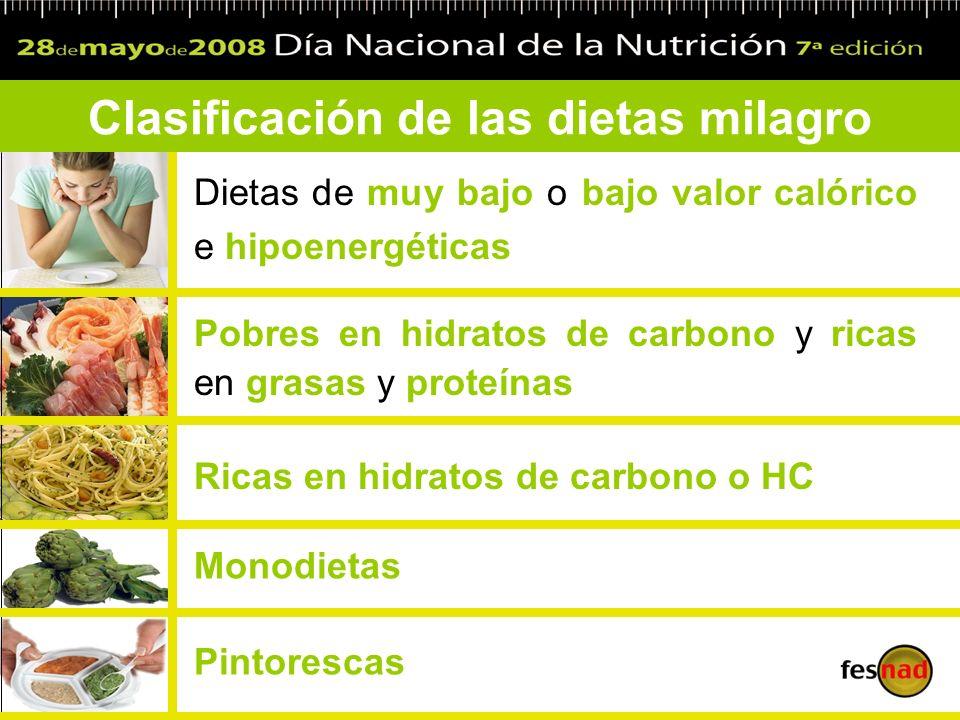 Clasificación de las dietas milagro Dietas de muy bajo o bajo valor calórico e hipoenergéticas Pobres en hidratos de carbono y ricas en grasas y prote